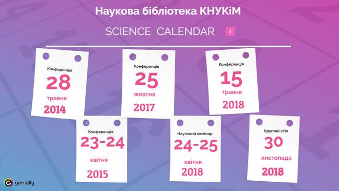 Наукова бібліотека КНУКіМ. Календар науки